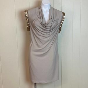 Calvin Klein Draped Neck Sequined Party Dress 8